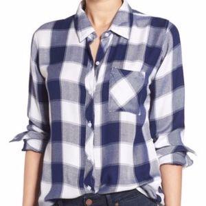 Rails Hunter Navy White Buffalo Plaid Shirt XS